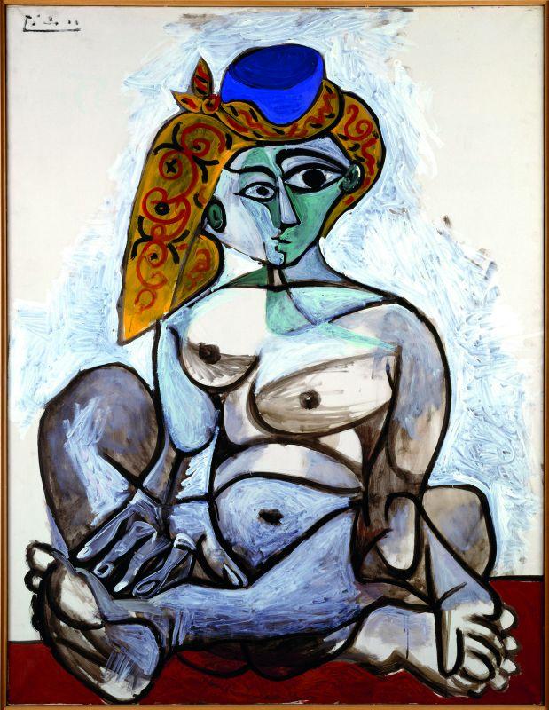 Pablo Picasso Femme nue au bonnet turc 1er décembre 1955 huile sur toile 116 x 89 cm Centre Pompidou, Paris. Musée national d'art moderne - Centre de création industrielle. Donation Louise et Michel Leiris, 1984. En dépôt depuis le 2 septembre 1998 au Musée national d'art moderne - Mnam / Cci © Succession Picasso 2018