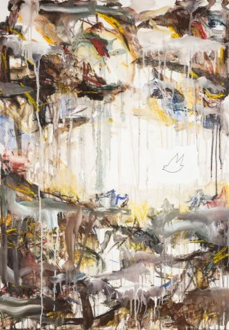 Thierry Delaroyère, Déluge, 2017. pastel sec, acrylique et mine de plomb sur bois, 116 x 81 cm © Patrice Lemesle
