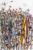 Thierry Delaroyère, La Paix en danger, 2014. acrylique, huile et mine de plomb sur bois, 116 x 81 cm © Patrice Lemesle