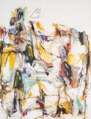 Thierry Delaroyère, La Paix en danger, 2017. pastel sec, acrylique, huile et mine de plomb sur bois, 116 x 89 cm © Patrice Lemesle