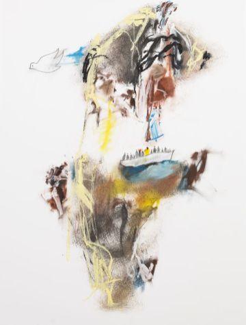 Thierry Delaroyère, Migrants, 2017. pastel à l'huile et mine de plomb sur papier, 65 x 50 cm © Patrice Lemesle