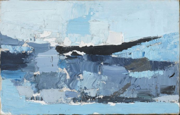 Nicolas de Staël, Paysage, 1953, huile sur toile, 14 x 22 cm, colletion privée © Adagp, Paris, 2018, photo: © The Fitzwilliam Museum, Cambridge