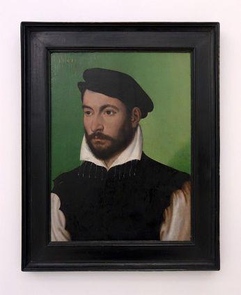 Corneille de Lyon, Portrait de gentilhomme au bérêt, 1561 - Djamel Tatah à la Collection Lambert - vue de l'exposition salle 3