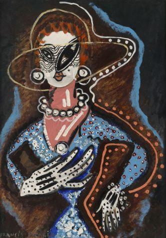 Francis Picabia, La Femme au monocle, 1924 Huile, Ripolin et crayon sur carton, 105 x 75 cm Collection particulière © ADAGP, Paris 2018
