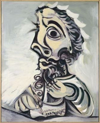 Pablo Picasso, Buste d'homme écrivant, 7 juillet 1971 Huile sur toile, 100 x 81 cm Musée national Picasso-Paris © Succession Picasso, 2018