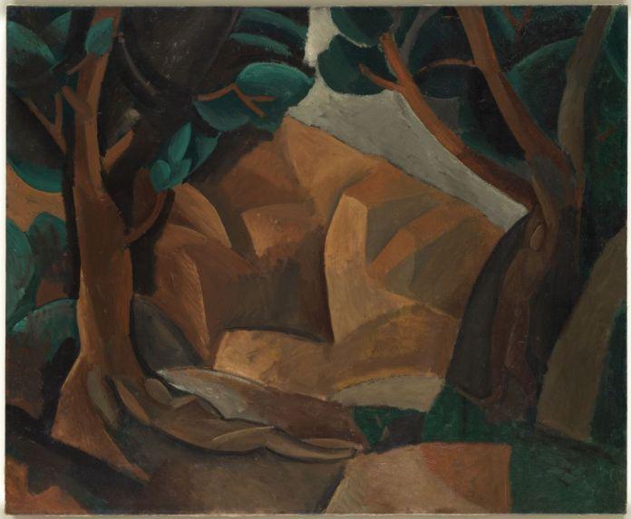 Pablo Picasso, Paysage aux deux figures, automne 1908 Huile sur toile, 60 x 73 cm Musée national Picasso-Paris © Succession Picasso, 2018