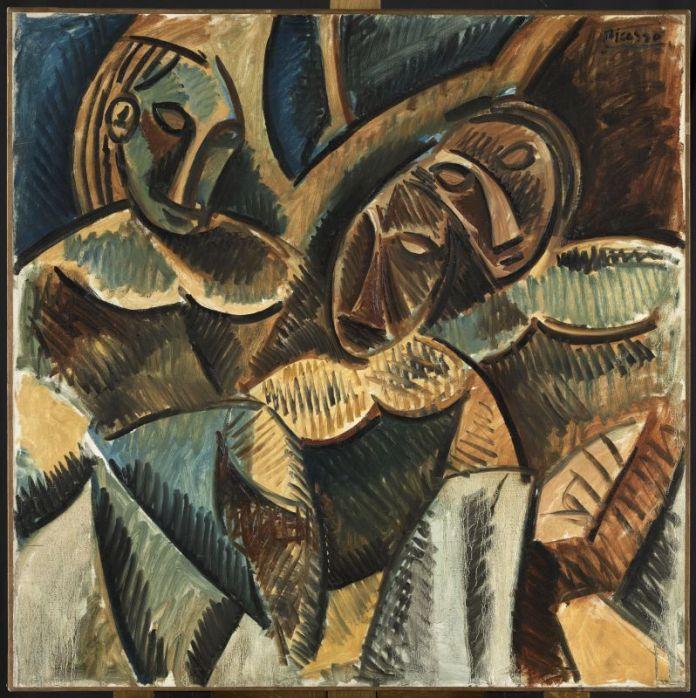 Pablo Picasso, Trois Figures sous un arbre, hiver 1907-1908, Paris, huile sur toile, 99 x 99 cm, Musée national Picasso-Paris, inv. MP1986-2, don en 1986, photo © RMN-Grand Palais (Musée national Picasso-Paris) / Mathieu Rabeau, service presse / musée Fabre © Succession Picasso, 2018