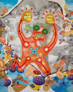Yann Dumoget, Peintures partagées Huitième session de graffitage le 03 mai , Assemblée générale des Amis du Musée Fabre, Montpellier