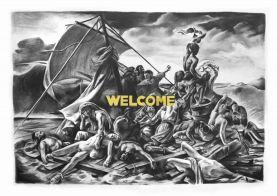 Filip Markiewicz, Welcome, 2016, fusain sur toile, 300 x 200 cm