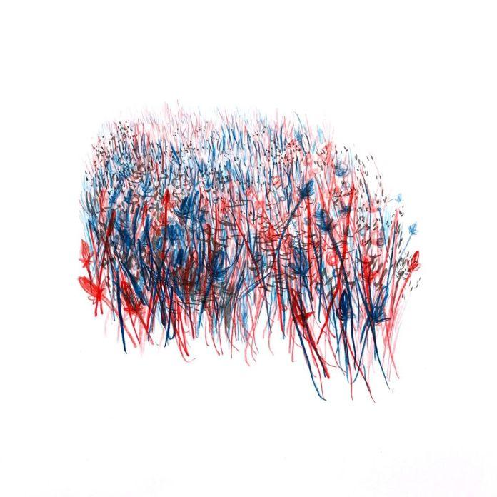 Jérôme Souillot, Sans titre, 2018, crayon de couleur et encre sur papier, 30×30 cm
