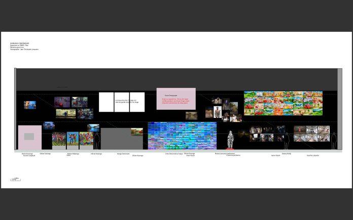 Kinshasa Chroniques - Scénographie - Jean-Christophe Lanquetin - Le grand mur dans la salle d'exposition à Sète 32mx6m