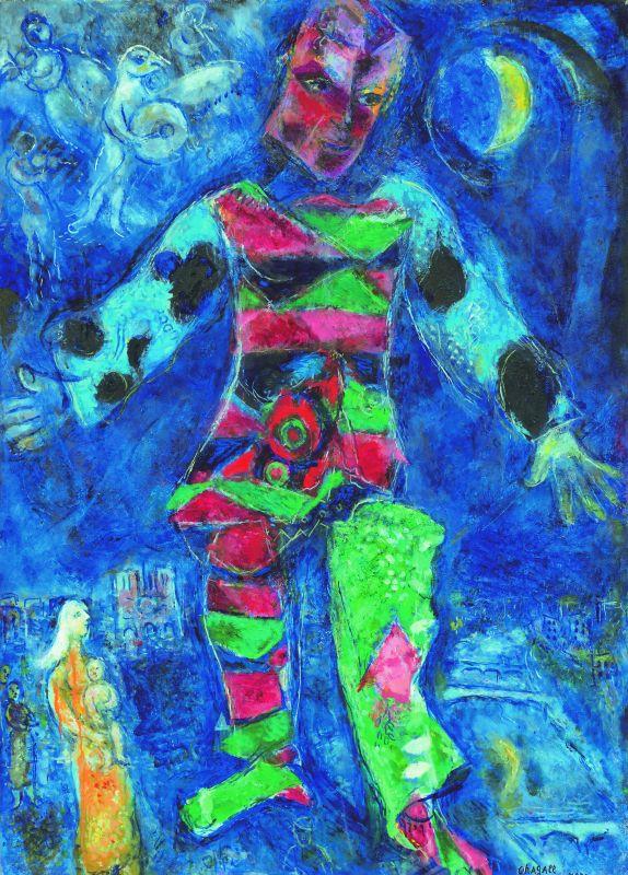 Marc Chagall L'Arlequin 1968-1971 Huile sur toile 136 x 98 cm Taisei Corporation, Tokyo © ADAGP, Paris, 2018 © Archives Marc et Ida Chagall, Paris