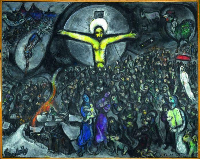 Marc Chagall L'Exode 1952-1966 Huile sur toile de lin 130 x 162,3 cm dation en 1988, Centre Pompidou, Musée national d'art moderne – Centre de création industrielle, dépôt au Musée national Marc Chagall © ADAGP, Paris, 2018, Photo © RMN-Grand Palais (musée Marc Chagall) / Gérard Blot
