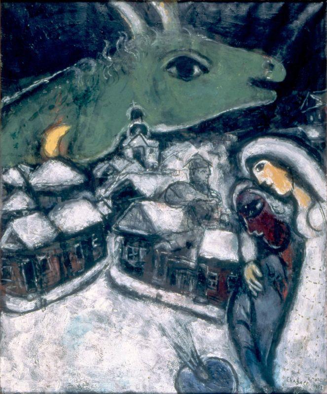 Marc Chagall La nuit verte 1952 Huile sur toile originale 72 x 60 cm Collection particulière © ADAGP, Paris, 2018 © Archives Marc et Ida Chagall, Paris
