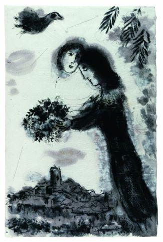 Marc Chagall Le couple au bouquet 1964 Encre de Chine, lavis de gris et aquarelle sur papier Japon 95,5 x 61,5 cm Collection particulière © ADAGP, Paris, 2018 © Archives Marc et Ida Chagall, Paris