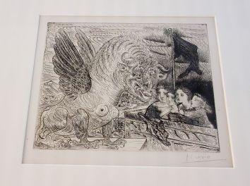Picasso - Suite Vollard - Harpye à tête de taureau...- Eau forte sur cuivre