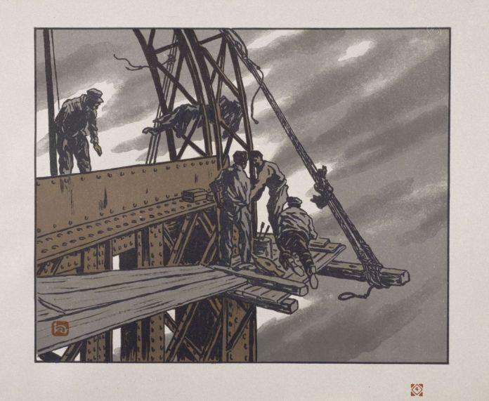 Henri Riviere, En haut de la tour, Les Trente-Six Vues de la tour Eifel, 1888-1902. © ADAGP, Paris 2018 ; cliche © RMN-Grand Palais (musee d'Orsay) / Rene-Gabriel Ojeda
