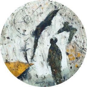 Sans titre. Tondo, technique mixte sur goudron. Diamètre 66 cm. Non signé et non daté. Collection privée, Casablanca © Collection privée, Casablanca