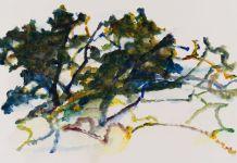 « Le Déchêné », grand chêne 2014, acrylique sur papier 57 x 76 cm
