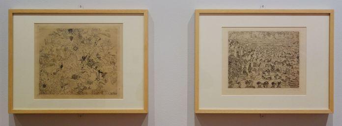 James Ensor, Diables rossant anges et archanges, 1888 et Les bains à Ostende, 1899 - James Ensor et Alexander Kluge - Siècles noirs à la Fondation Van Gogh Arles
