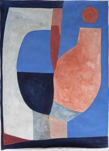 Caroline Denervaud - Fenêtre sur un vase la nuit, 2019 Caséine sur papier 220 g 77 x 108 cm