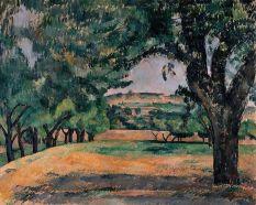 Paul Cézanne, Environs du Jas de Bouffan, vers 1885-1887. huile sur toile, 65 x 81 cm. Solomon R. Guggenheim Museum, New York, Thannhauser Collection, Bequest, Hilde Thannhauser, 1991. 91.3907