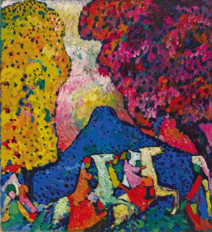 Vassily Kandinsky (1866-1944), La Montagne bleue (Der blaue Berg), 1908-1909, huile sur toile, 106 x 96,6 cm Solomon R. Guggenheim Museum, New York, Solomon R. Guggenheim Founding Collection, don, 41.505 Exposé à la Moderne Galerie Heinrich Thannhauser, Munich, 1914