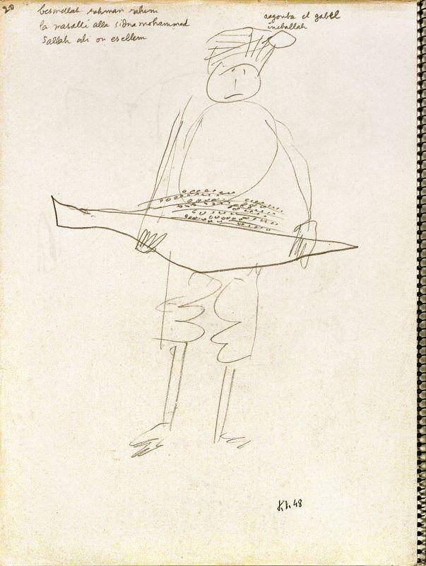 Jean Dubuffet, Arabe portant une fleur de palmier mâle, El-Goléa, Algérie, mars-avril 1948, crayon sur papier, 32 × 24cm. Collection Fondation Dubuffet, Paris © Fondation Dubuffet, Paris © Adagp, Paris2019.
