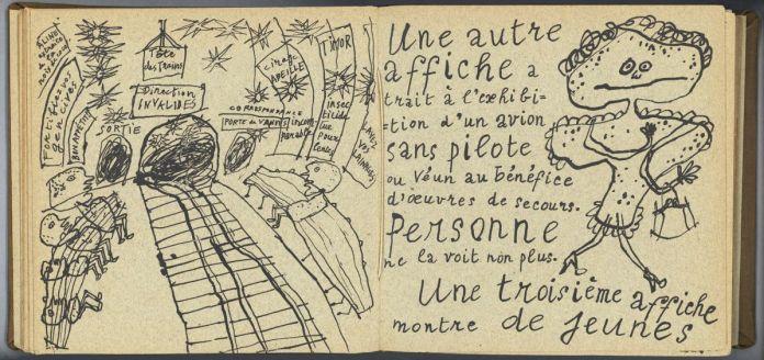 Jean Paulhan (texte), Jean Dubuffet (calligraphie et dessins), La Métromanie ou les Dessous de la capitale (pages22-23), Paris, chez les auteurs, 1950. 21 × 21cm. Collection Fondation Dubuffet, Paris © Fondation Dubuffet, Paris © Adagp, Paris2019.