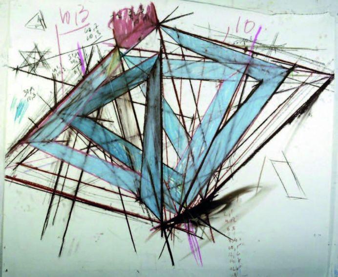 Tjeerd Alkema - Sans titre (série Trou avec le soleil), 1988, craies sur papier Canson