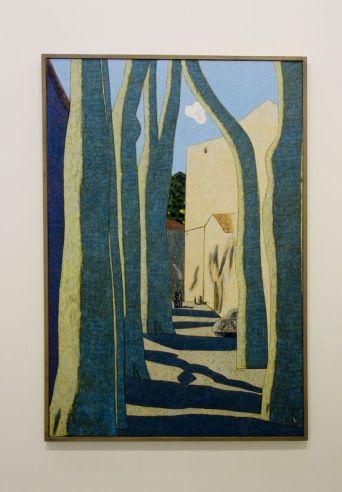 Vincent Bioulès - Les platanes l'hiver, 2005-2006 - Chemins de traverse - La série des places, la ville comme un décors d'opéra au Musée Fabre