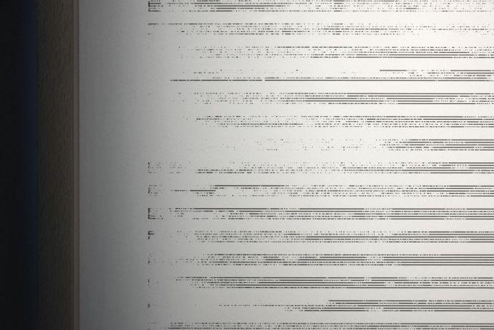 Paul Destieu - Mouvements pour batterie, code XML sur portées, 2019 (détail) - Art-cade - Marseille - Photos Luce Moreau