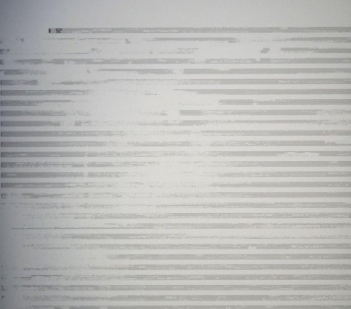 Paul Destieu - Mouvements pour batterie, code XML sur portées, 2019 (détail) - Art-cade - Marseille