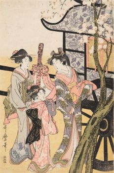 Kitagawa Utamaro (1753 - 1806), Courtisane admirant les cerisiers en fleur (triptyque), 1801-1804, nishiki-e, 38,6 × 25 cm; 38,8 × 25,2; 38,2 × 25,2 cm Collection Georges Leskowicz, Photo : © Christian Moutarde