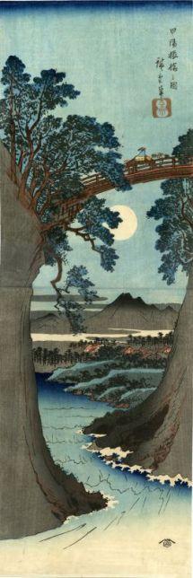 Utagawa Hiroshige (1797 - 1858), Le Pont des singes dans la province de Kai, 1841-1842, Nishiki-e, 73,1 x 24,8 cm Collection Georges Leskowicz, Photo : © Fundacja Jerzego Leskowicza