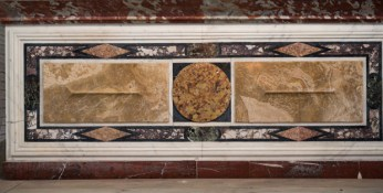 Francesco Macetti (parfois appelé Masetti, Massetti, Mazzetti) et atelier, Ancien lambris décoratif de la chapelle Deydé, remonté en davant d'autel, Montpellier, cathédrale Saint-Pierre, capelle des évêques