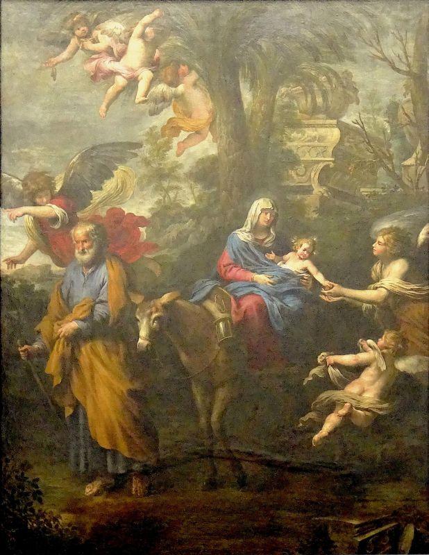 Giovanni Battista Carlone, La Fuite en Égypte, dit aussi Le Miracle des dattes, 1664