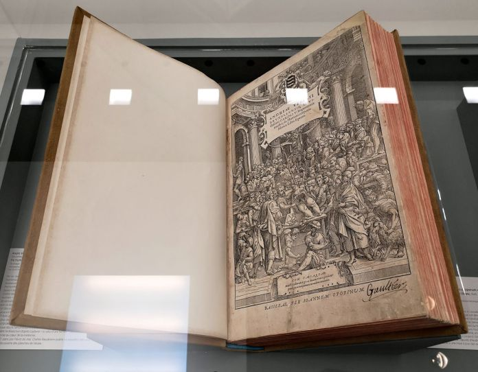 André Vésale, De humani corporis fabrica libri septem, frontispice, 1555 - Art & Anatomie - Musée Fabre