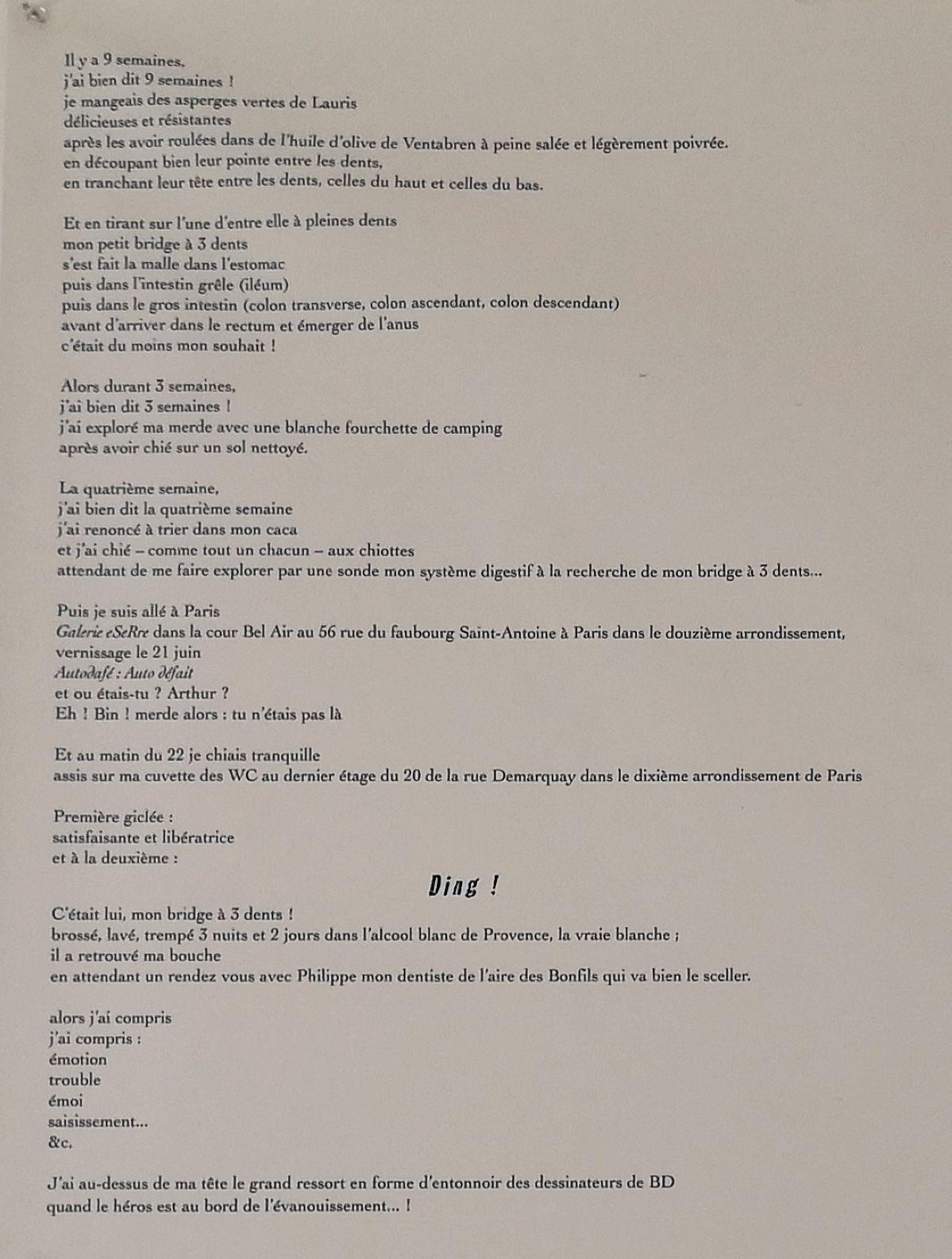 Julien Blaine - Explication de la lettre au directeur des Messageries maritimes (lettre d'Arthur Rimbaud dictée à Isabelle Rimbaud) - Le Grand Dépotoir à la Friche Le Belle de Mai