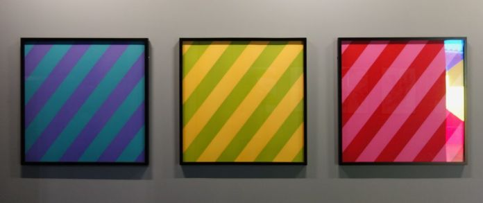 Olivier Mosset - Pink, Green, 2003 - Yellow, Green, 2003 - Violet, Blue, 2003 - Red, Pink, 2003 - Mrac Sérignan - Accrochage des collections 2019-2020
