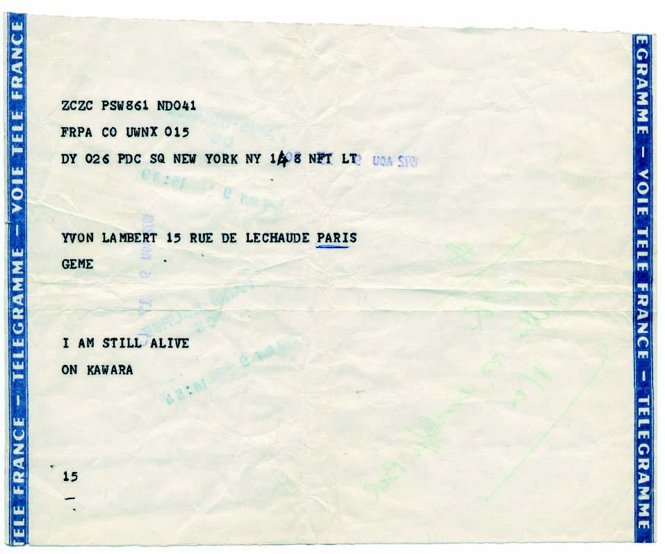 On Kawara - I Am Still Alive, 1972