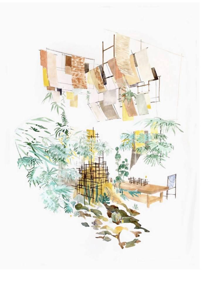 Toma Dutter - Lointain, 2020 - Aquarelle, Encre pigmentaire sur papier, 95 130 cm