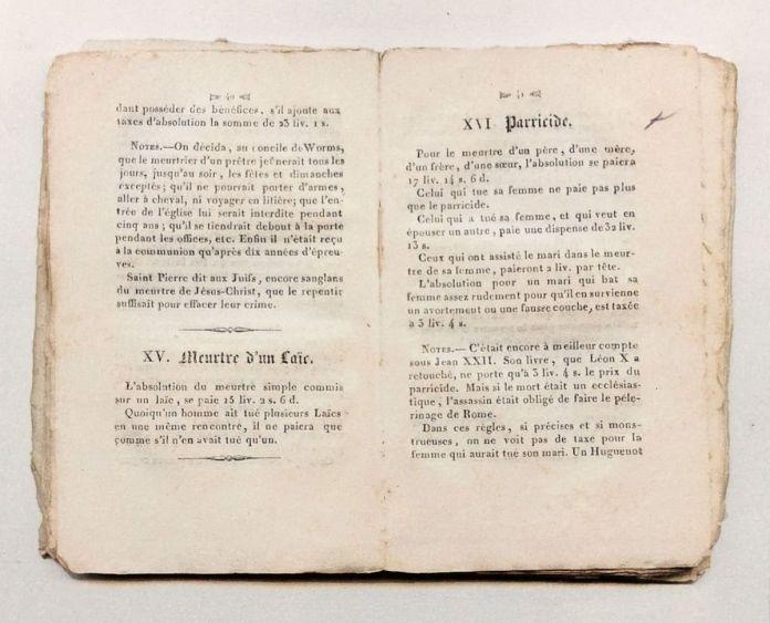 Extrait de Taxes des parties casuelles de la boutique du pape, 1833 - Mind the gap à la galerie chantiersBoîteNoire