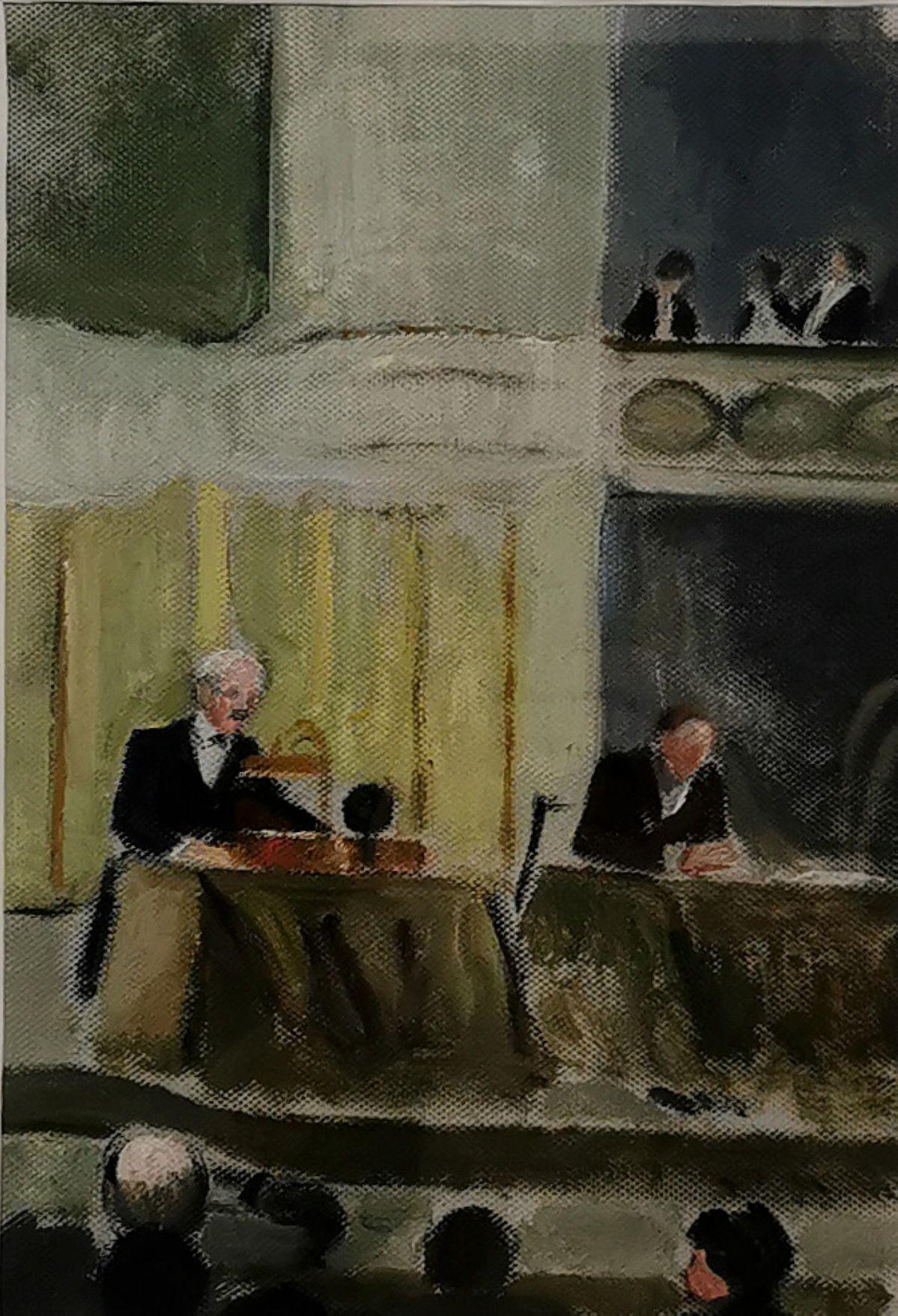Paule Gobillard - Paul Valéry faisant une conférence aux annales, salle Gaveau, c 1937 - Paul Valéry et les peintres - Le cercle familial - Musée Paul Valéry à Sète