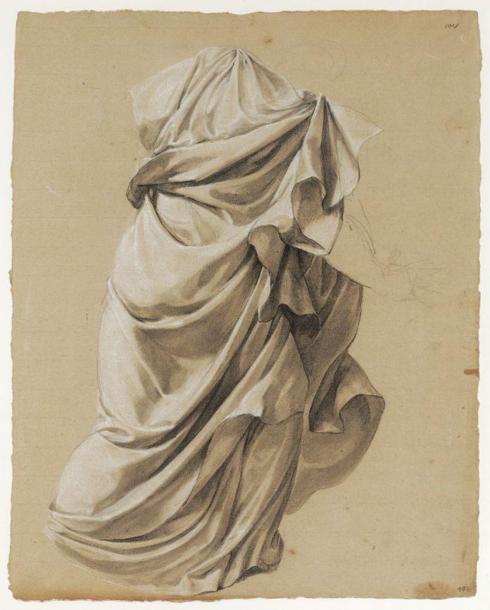 Jacques Réattu - Daniel faisant arrêter les vieillards accusateurs de la chaste Suzanne, étude de draperie Paris, 1790. pierre noire, rehaut de craie blanche. 59,4 cm x 47,2 cm