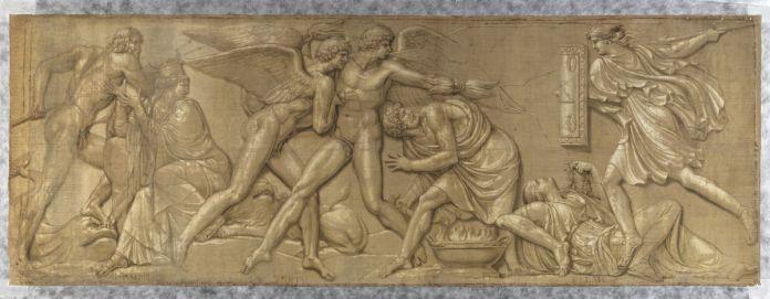 Jacques Réattu - La Liberté combattant la tyrannie, les éléments et la rigueur des saisons, grisaille pour le temple de la Raison de Marseille, 1795. détrempe sur toile. 226 x 62
