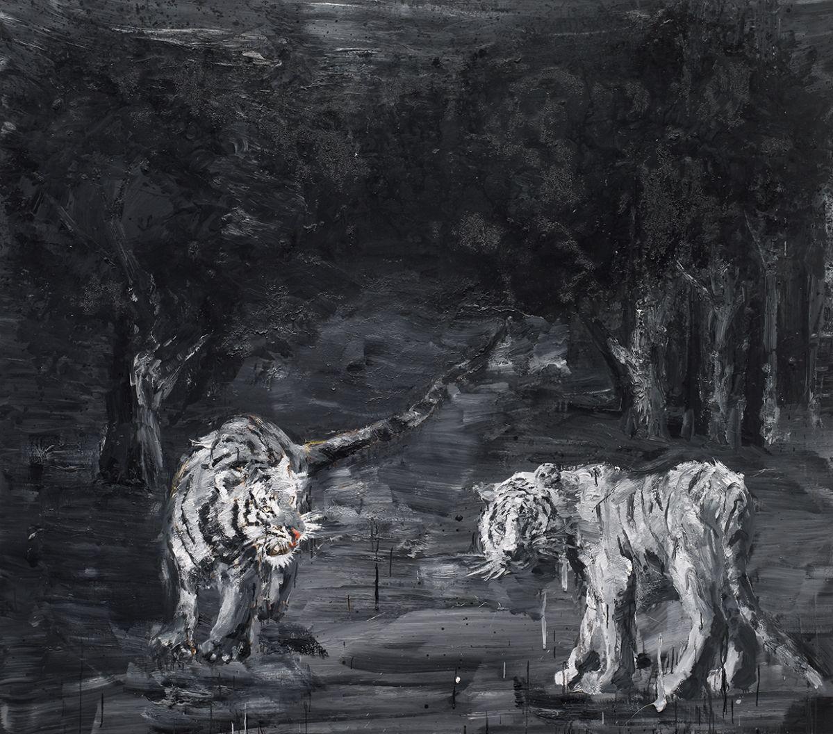 Yan Pei-Ming - Wild Game - The Way of the Tigers, 2011. © Yan Pei-Ming, Adagp, Paris, 2021 - Photo André Morin