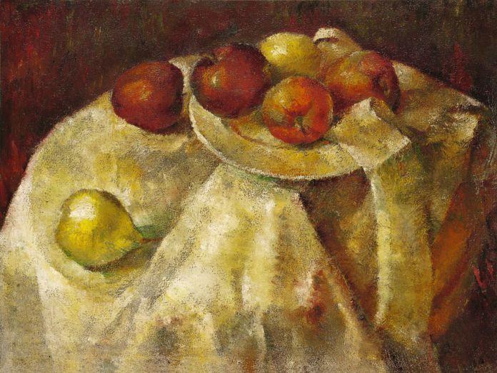 Zao Wou-Ki - Sans titre (Nature morte aux pommes), 1935-1936, Huile sur toile, 46 x 61 cm, Collection particulière, © Adagp, Paris, 2021, photo  Antoine Mercier