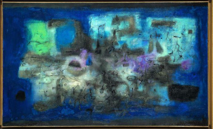 Zao Wou-Ki - Ville engloutie, 1955, Huile sur toile, 89 x 146 cm, Collection particulière, © Adagp, Paris, 2021, photo Antoine Mercier