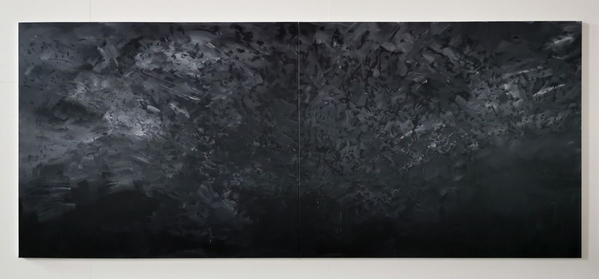 Yan Pei-Ming - Exode, 2020. Huile sur toile, Panneau 1
